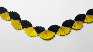 Paper crafts:paper fan Garland.Easy craft idea for wall decoration.