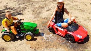 Moeder struikelde over een rode auto Lamborghini / Dima en Auto's
