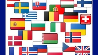 Vlajky Evroských států - Flags of European states (1st part) - Banderas de estados europeos - флаги