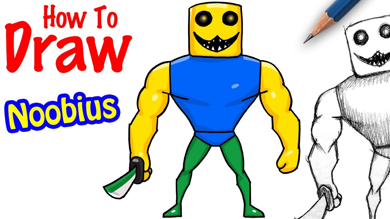 How To Draw The Noob In Roblox Youtube How To Draw Noobius Roblox Bakon Youtube