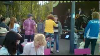 Girls dancing on live country music in London