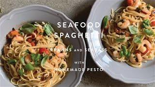 Italian Recipe | Seafood Spaghetti: Prawns and Seabass | WM . Quarantine Cuisine | #stayhome #recipe
