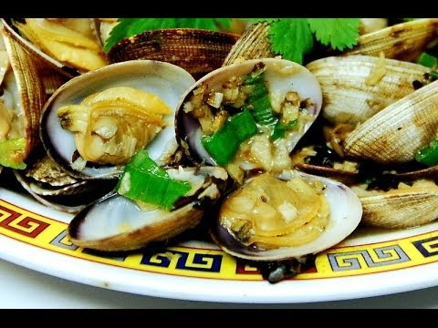 Stir fry clams with spicy ginger and black beans sauce for Authentic cantonese cuisine