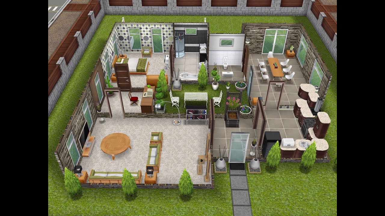 The sims freeplay scandinavian house youtube for Modele maison sims freeplay