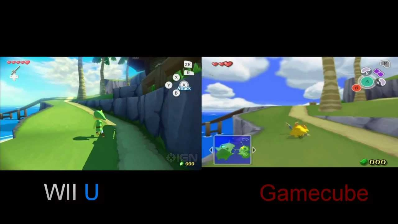 Zelda Wind Waker Wii U Gamecube Comparison Youtube