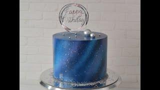 торт КОСМОС украшение аэрографом Как украсить торт в стиле космос бзк
