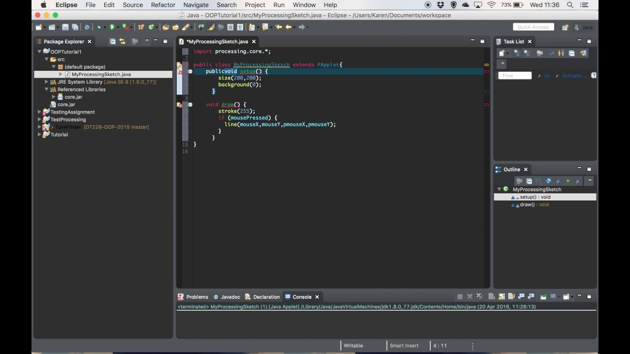 Oop tutorial processing in eclipse youtube oop tutorial processing in eclipse baditri Images