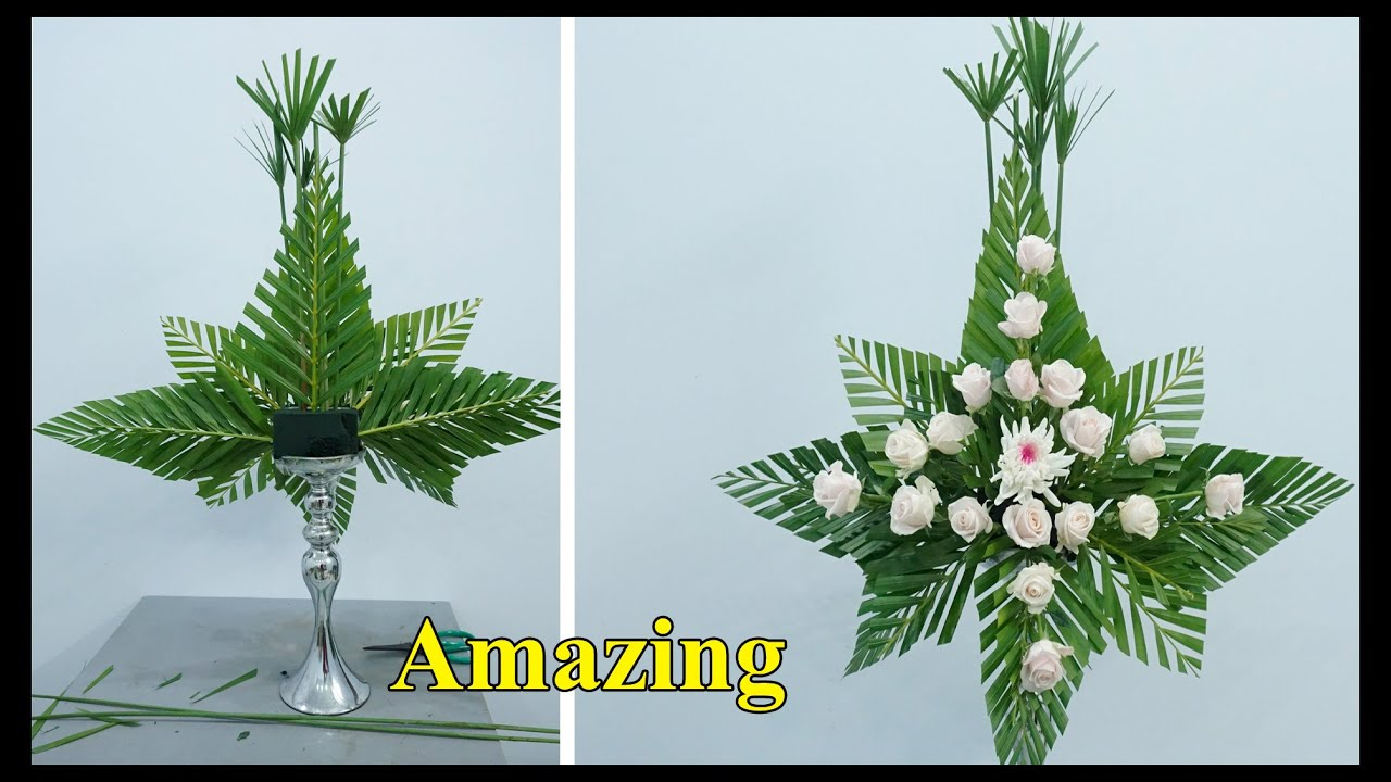 Mẫu cắm hoa bàn thờ đẹp sử dụng hoa hồng và lá dừa