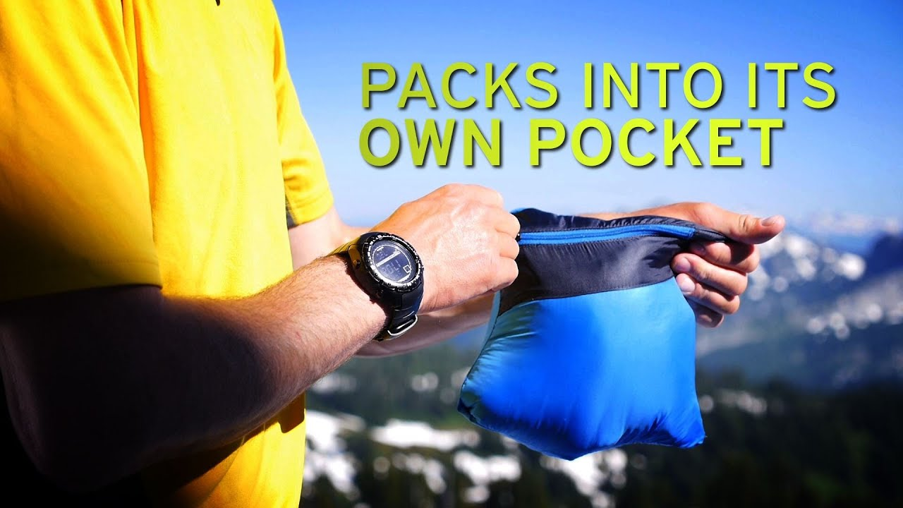 Rain jacket that folds into a pouch