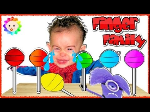 Thumbnail: Bad Spider Baby Crying and learn colors-Colorful Lollipop Minion Despicable ME Finger Family Song #1