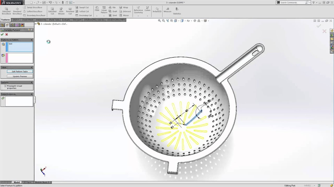 Solidworks 2015 What S New Variable Pattern Youtube
