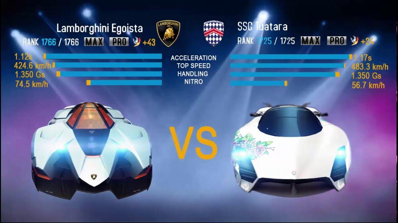 Asphalt 8 Airborne Lamborghini Egoista Vs Ssc Tuatara Youtube