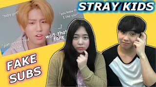 Couple Reacts To: Things Stray Kids Say That Seem Like Fake Subs Reaction