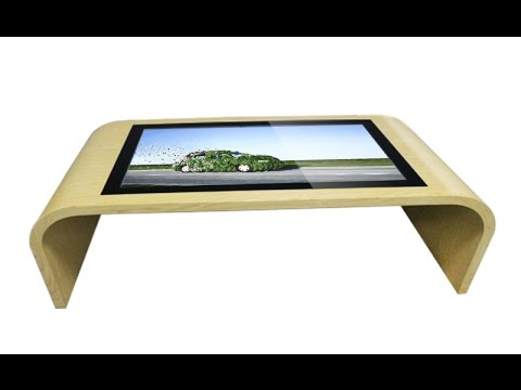 Marvel interactive multi touch table with wooden grain