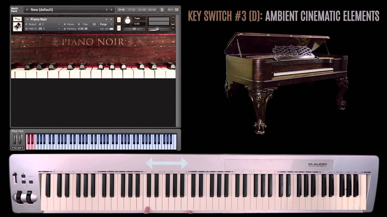 Piano Noir: Cinematic Piano with percussive and ambient effects  (walk-through)