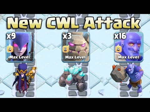New CWL Attack Style 2018! 3 Max Golem 9 Witch 16 Bowler Easy 3Star 3 inferno TH12 War Base