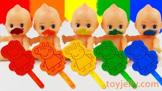 learn colors play doh rainbow peppa pig popsicles ice cream paint baby doll finger family song