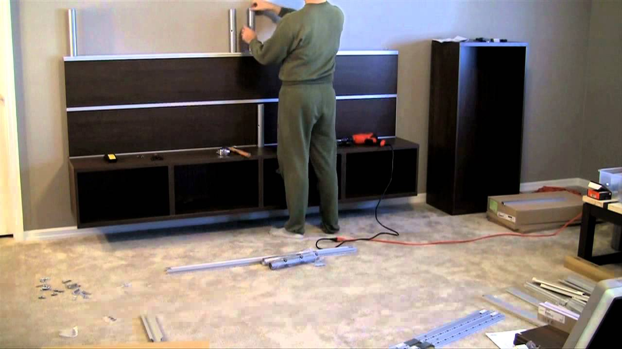 ikea besta framsta wall mount entertainment center assembly part 3 youtube. Black Bedroom Furniture Sets. Home Design Ideas