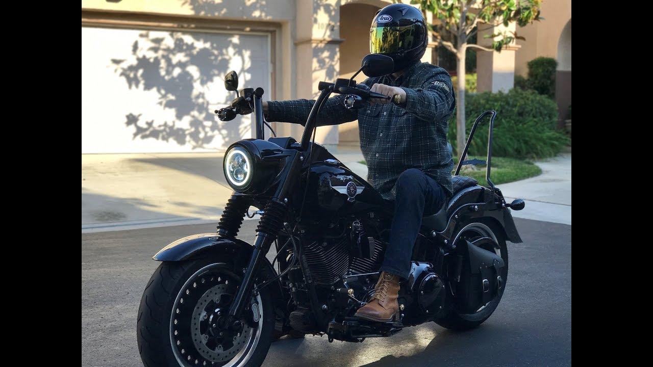 2018 Harley Davidson Street Bob >> Harley Fat Boy S 200 mile mini ape test and impression on new front suspension - YouTube