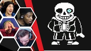 Let's Players Reaction To Sans His First Attack | Undertale (Genocide)