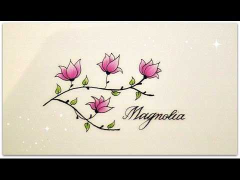 how to draw flowers for beginners , magnolia for beginners