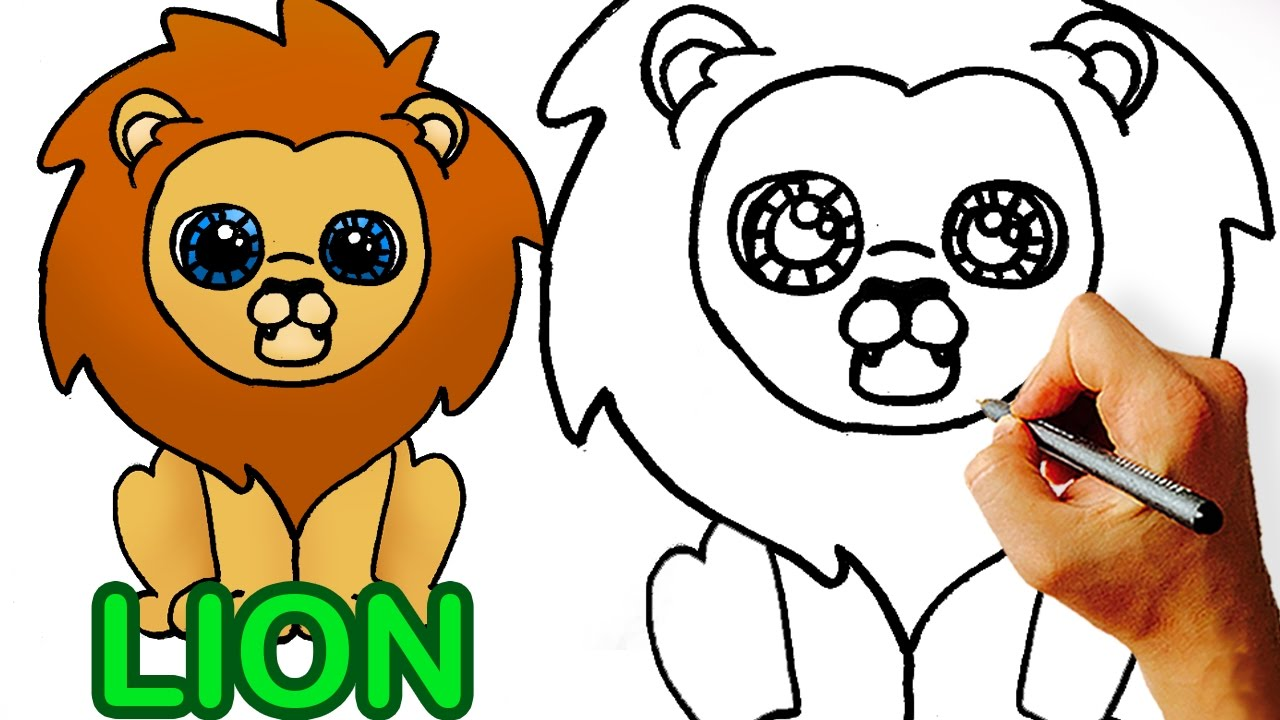 how to draw cute cartoon lion art for kids