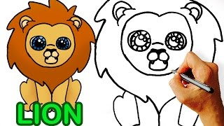 Very Easy! How to Draw Cute Cartoon Lion  Art for Kids!