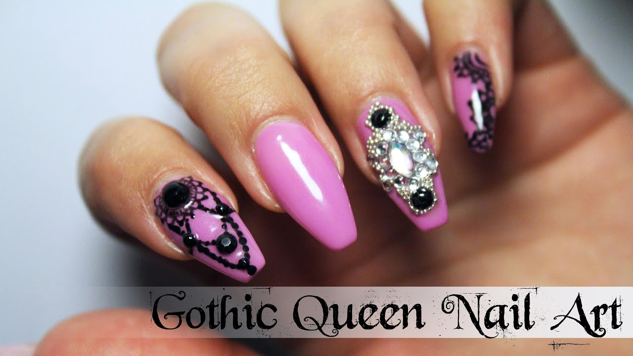 Tutorial semipermanente gothic queen nail art youtube prinsesfo Images