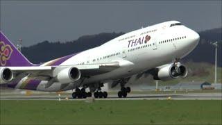 [HD] Thai Airways B747-400 majestic takeoff at Zurich Airport - 05/04/2015