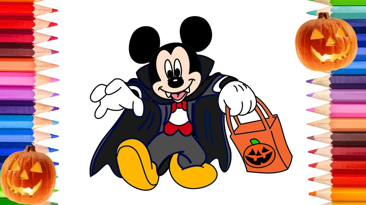 How to Draw Mickey and Minnie Mouse Halloween | Coloring Pages for ...