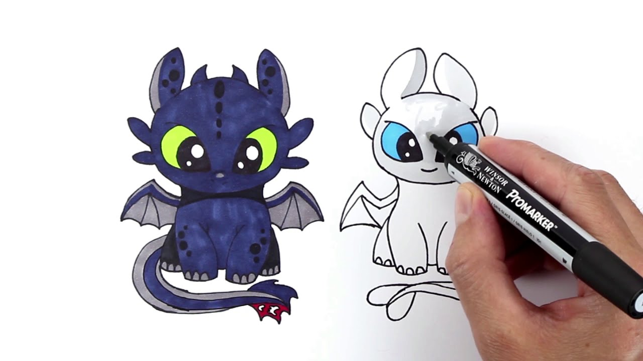 Toothless And Light Fury Drawing And Coloring How To