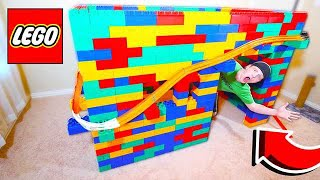 GIANT LEGO HOUSE WITH 50FT HOT WHEELS RACE TRACK!