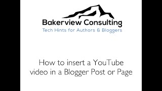 How to Insert a Youtube Video in a Blogger Post