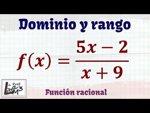 Dominio y rango de f(x)=(5x-2)/(x+9) | Función racional | La Prof Lina M3
