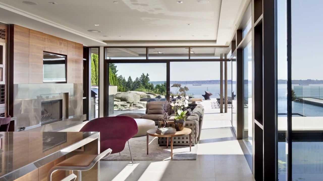 West Coast Modern residence features planar walls floor