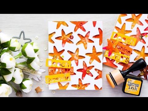 Unique Die Cut Star Fish Background