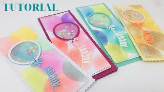 Slimline Card-Biglietto auguri buon compleanno con palloncino- DISTRESS OXIDE-SHAKER Card TUTORIAL