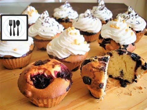 Кексы с ягодами, Маффины с вишней и черникой. Рецепт простого теста для кекса.