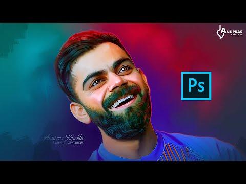 Adobe Photoshop Full Digital Painting Tutorial   Virat Kohli