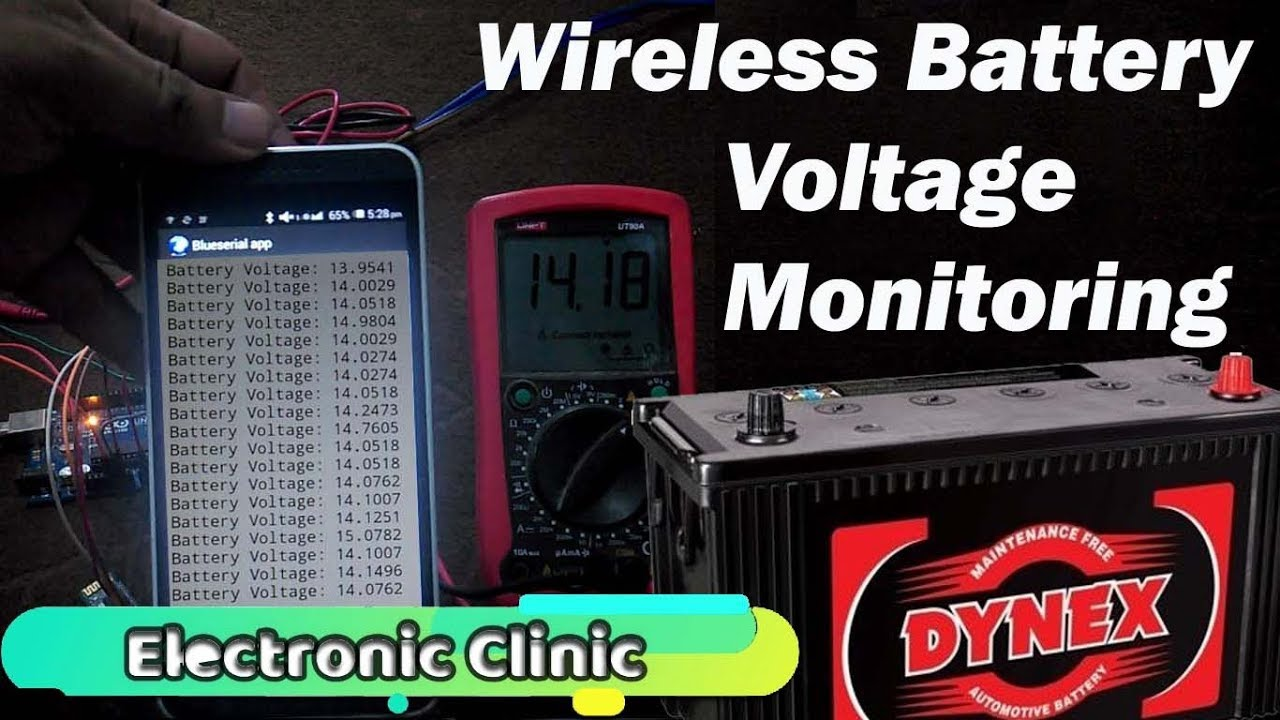 Wireless battery voltage monitor using Arduino and Bluetooth