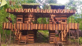 Two Months Building Three Story Twin Wood House By Ancient Skills In Forest