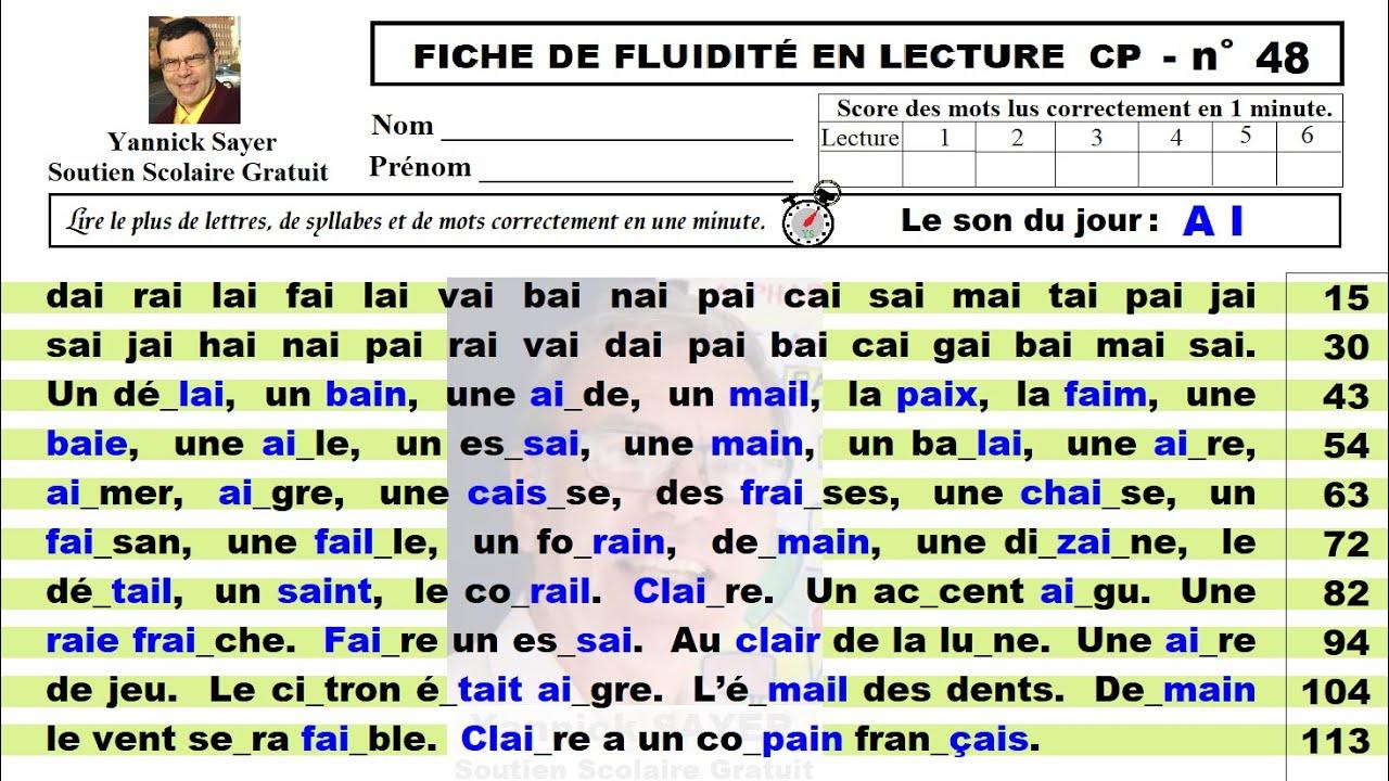 Exercices Et Fiche De Fluidite En Lecture Gs Cp 2 Voyelles Ai 48 Youtube