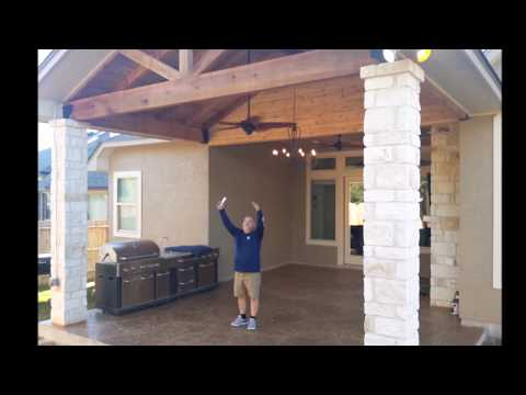 Freedom Outdoor Living - Cedar Patio Cover - Stone Columns - Stamped Decorative Slab