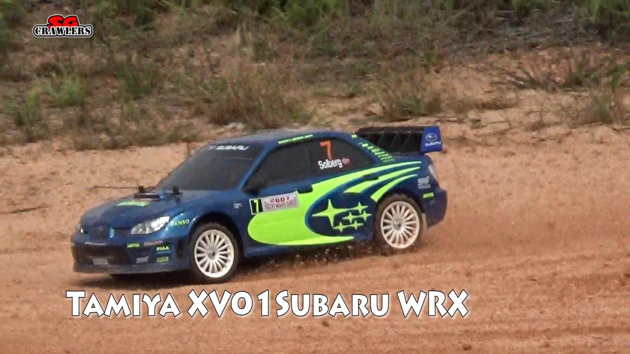 Tamiya XV01 Subaru WRX Rally Car at Woodgrove offroad track - YouTube