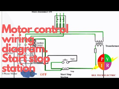 Motor control start stop station Motor control wiring diagram How to wire start stop station