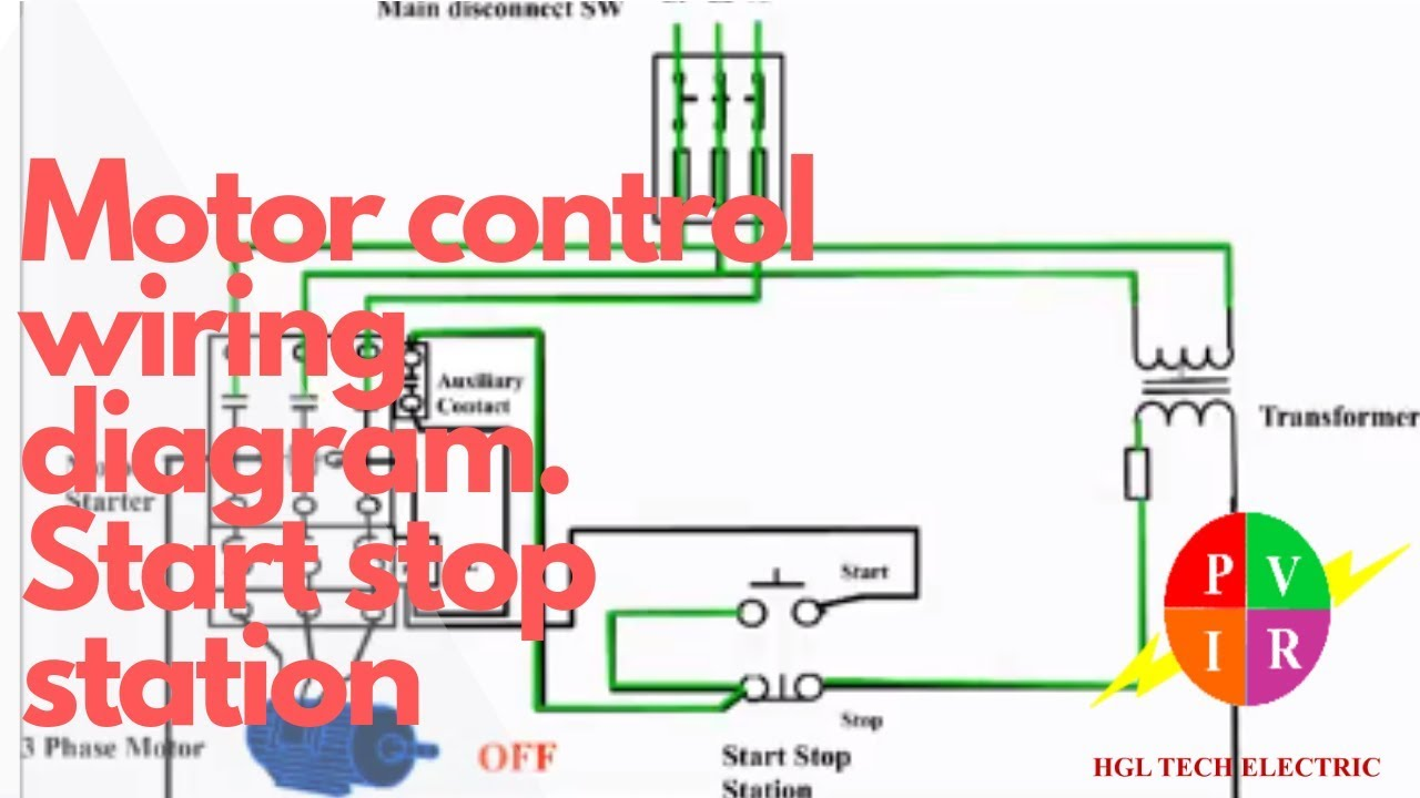 Motor control start stop station. Motor control wiring diagram. How to wire  start stop station. - YouTubeYouTube