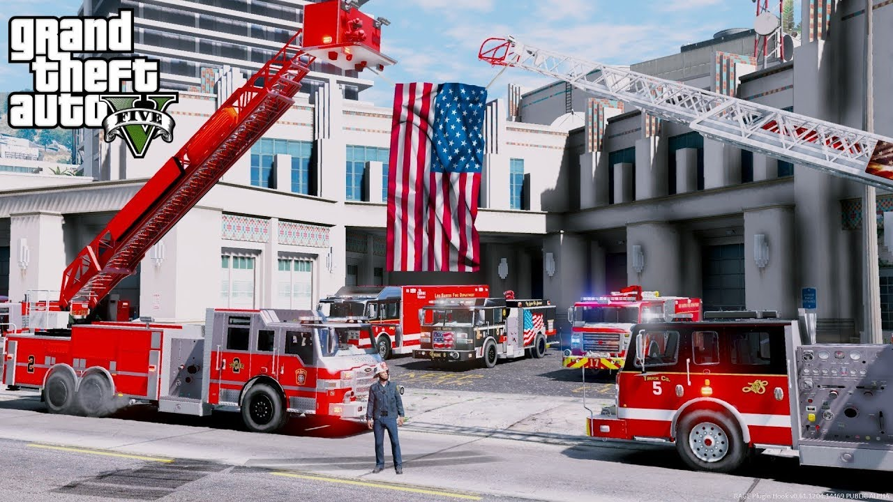 GTA 5 Firefighter Mod - SO MANY NEW TRUCKS AT THE FIRE DEPARTMENT HEAD  QUARTERS