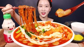 매운 엽떡맛 라이스페이퍼 떡볶이 숟가락으로 퍼먹기 Rice Paper Tteokbokki MUKBANG(마따주니어 깜짝출연🥰)