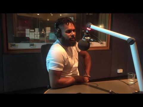 Patty Mills in studio with Neil Mitchell