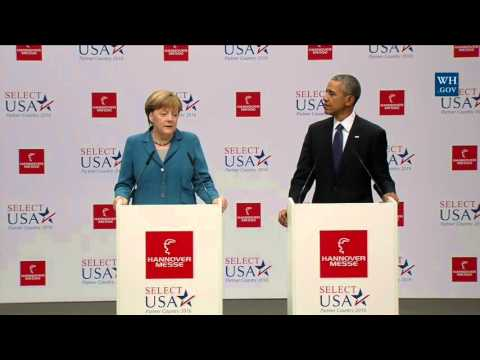 President Obama Delivers Remarks at the Hannover Messe Trade Fair with Chancellor Merkel